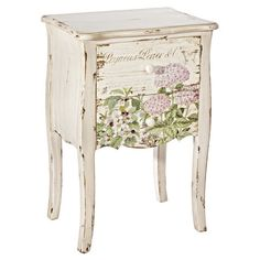 Organise bedroom essentials and display a statement lamp on this wooden chest of drawers, featuring a distressed white finish and floral design....