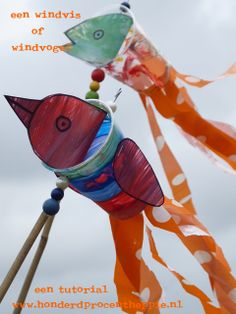 100% Heppie: high fish (and birds) - windsocks from recycled cups and plastic bags.