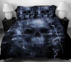 Skull Wing Pattern Duvet Quilt Cover Set Pillowcase Queen King Size Bedding Set  #Handmade #Country