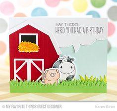 The Whole Herd, Barn Die-namics, Grassy Fields Die-namics, Stitched Speech Bubble Edges Die-namics - Karen Giron  #mftstamps