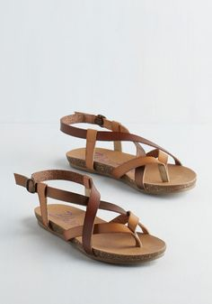 Everyday Nonchalance Sandal in Acorn. Even your mellow attitude cant hold back your glee over these brown, bronze, and tan sandals by Blowfish! #brown #modcloth #SilkyJean #Bohemian #Boho