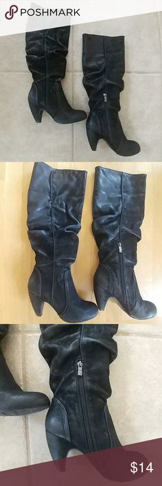 Black Heeled Dressy Boots Black Slouchy Heeled Boots. They Have a Half Zipper for Easy Slip on. They are Pre-Loved and in Decent Condition. Worn a Few Times. They Can Be Folded Down as Seen in Picture 5. Great with a Skirt/Dress or Jeans. Shoes Heeled Boots