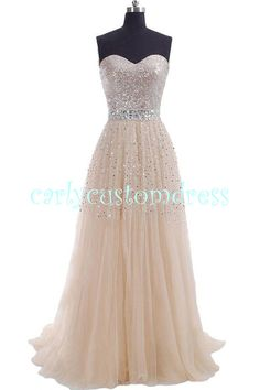 Silver Sequins Long Champagne Prom Dress/Bridesmaid Dress/Long Evening Dress/Homecoming Dress/Graduation Dress/Formal Dress/Junior Dress