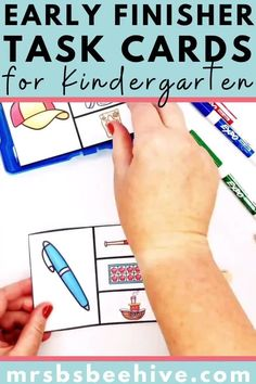 Give your students early finisher activities that are engaging and educational.  These task cards are meant to be done independently to help free up your teacher time for those students who need assistance!Help students increase rhyming word recognition with these kindergarten task cards.