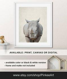Rhino print, Rhino Baby animal nursery art, Safari animal prints, Animal nursery decor, Zoo animal prints, Rhino art Print/Canvas/Digital
