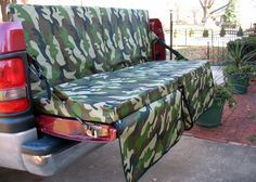 In Comfort With The Tailgate Couch Tailgating with your truck? You must have this foldable truck bed couch! Tailgating with your truck? You must have this foldable truck bed couch! Truck Bed Camping, Truck Tailgate, Pickup Camping, Tailgate Table, Camping Hammock, Kayak Camping, Pick Up, Navara Tuning, Accessoires 4x4