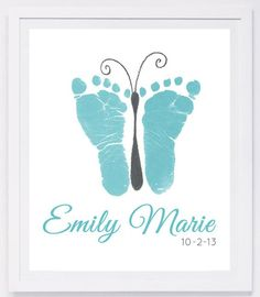 Baby footprint art, forever prints by hand and footprint Keepsake for kids or babies. Mother's Day, New Mother, Nursery Art Baby In loving memory - Baby & Kleinkind - Baby Diy Mothers Day Crafts For Kids, Fathers Day Crafts, Baby Crafts, Toddler Crafts, Baby Footprint Art, Baby Footprints, Butterfly Footprints, Butterfly Canvas, Butterfly Baby