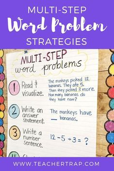 Simple strategies for helping students master multi-step word problems! Word problems with multiple steps and different operations can be tricky for students. This easy process helps kids break down the problem and think through the steps. Word Problems 3rd Grade, Math Problems, Third Grade Math, Fourth Grade, Grade 3, Second Grade, Math Problem Solving, Solving Equations, Math Anchor Charts