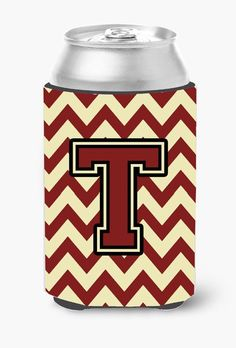 Letter T Chevron Maroon and Gold Can or Bottle Hugger CJ1061-TCC