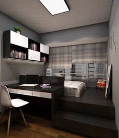 In this bedroom, the designer shows his wit for adding extra space and storage where there is none. While leave the wall with window naked, here, the designer has used the space for an extra seating and storage.   While black is rarely recommended, here it fits ideally with the silver background. Both the girl and boy bedroom have the same concept, with a desk made next to the bed. The difference is in the colour schemes, as the girl room looks more dramatic thanks to the dark black colour…