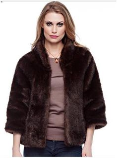 "Russian Sable Perfect Little Faux Fur Jacket. Bracelet-length sleeves and a cozy collar equal fashion perfection. In versatile Russian Sable, this 22"" jacket goes to work, then out for the evening. For more pics go to: www.imageshack.com"