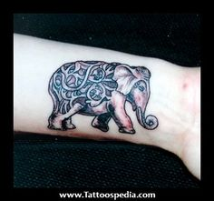 Idea for tattoo- instead of this design shade the elephant purple and but the Alz symbol in white in the center.