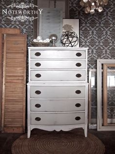 Grey & White Chest of Drawers by noteworthyhome on Etsy, $400.00 bow front, tall chest, Duncan Phyfe, Distressed White Chest
