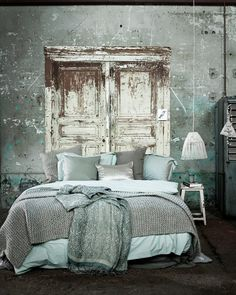 Oooh! Who loves the idea of recycled timber doors as a bed head!!! I love!