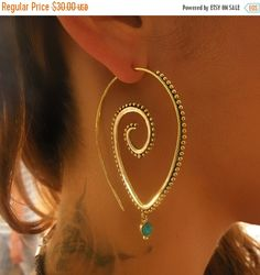 ON SALE 15 % aus Messing - Messing Spirale Ohrringe - Gypsy - Spirale-Schmuck - Ohrringe Messing Schmuck - Gypsy Schmuck - Ohrringe ethnischen Schmuck (C