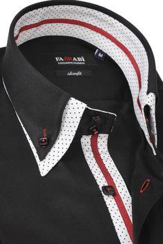 F7 Black Shirt | Farrabi Slim Fit | Exclusive Luxury Shirts High Fashion Men, Mens Fashion Blog, Mens Fashion Suits, Best Dress Shirts, Slim Fit Dress Shirts, Designer Casual Shirts, Casual Shirts For Men, Mens High Collar Shirts, Moda Peru