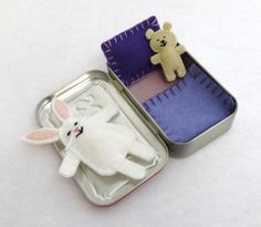 so cute; just be sure to decorate the Altoids box.  Custom Wee Bunny in Altoids Tin House by EarthyMamaGoods