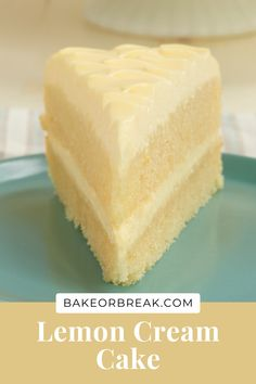 Lemon Cream Cake is an all-out lemon dessert experience! It's so deliciously cool, creamy, and downright fabulous! - Bake or Break #cake #lemon Lemon Dessert Recipes, Lemon Recipes, No Bake Desserts, Just Desserts, Sweet Recipes, Baking Recipes, Delicious Desserts, Cake Recipes, Yummy Food