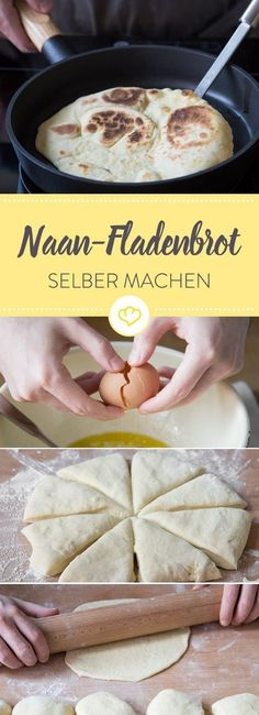 Indian Recipes Delicious naan flatbread from the pan you can easily make yourself …. Indian Food Recipes, Vegan Recipes, Cooking Recipes, Easy Student Meals, Naan Flatbread, Salty Foods, Vegetarian Lunch, Soul Food, Family Meals