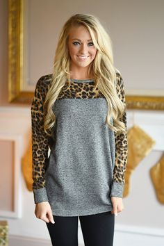 Charcoal Leopard Top – The Pulse Boutique