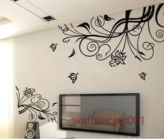 Wall Decals Wall Stickers,Art,Home Decors,Murals,Graphic - Lovely flower With Butterfly. $68.00, via Etsy.