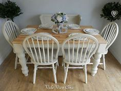 French Style Solid Wood 6 Seater Dining set, 4 chairs, Monks Bench, Shabby Chic