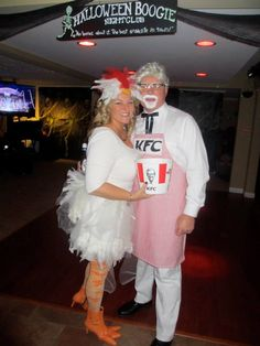 GREAT DIY couples Halloween costume. Colonel Sanders and his chick :)