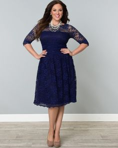 Scalloped Luna Lace Dress in Sapphire Top Plus Size Womens Clothing at www.curvaliciousclothes.com