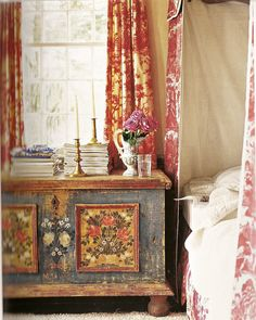 Tim Street-Porter- I would love to have the beautiful painted chest next to my bed.