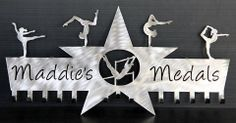 Gymnastics Medals Display: Gymnastics Ribbons Holder: Personalized Medals Holder.....The # 1 Creator of Metal Home Wall Décor, Custom Wall Plaques, Personalized Medal Holders and Personalized Sports Trophy Shelves