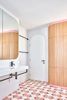The bathroom in this renovated century terrace features a fresh white canvas embellished with pastel pink, hand-painted encaustic floor tiles and powder pink detailing within the timber cabinetry. Project by Winwood McKenzie Mission Style Homes, Pink Tiles, Walk In Shower Designs, Melbourne House, Palette, Storey Homes, Australian Homes, Modern Bathroom Design, Bathrooms