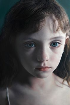 Artist: Gottfried Helnwein, oil and acrylic on canvas {contemporary realism beautiful #hyperreal female head girl face photorealism portrait painting #loveart} helnwein.com