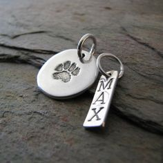 Personalized Artisan PMC Jewelry, Pet Pawprint Fine Silver Pendant and Name Charm, Precious Metal Clay. $46.00, via Etsy.