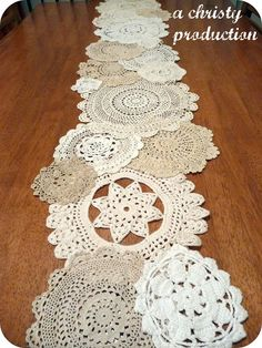 Doily table runner - Until now, I never knew what to do with all my grandmother's doilys!