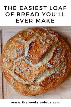 Easiest Bread Recipe Ever - The Lovely Lou Lous easy bread Easy Homemade Dutch Oven Bread Artisan Bread Recipes, Dutch Oven Recipes, Easy Bread Recipes, Cooking Recipes, Easy Homemade Bread, Loaf Recipes, Cornbread Recipes, Jiffy Cornbread, Homemade Recipe