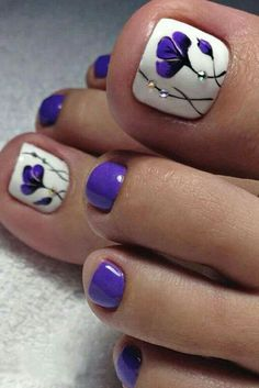 The Fundamentals of Toe Nail Designs Revealed Nail art is a revolution in the area of home services. Nail art is a fundamental portion of a manicure regimen. If you're using any form of nail art on your nails, you… Continue Reading → Pretty Toe Nails, Cute Toe Nails, Toe Nail Art, Fancy Nails, My Nails, Hair And Nails, Purple Toe Nails, Purple Toes, Beach Toe Nails