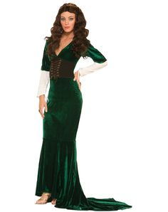 Renaissance Lady Green Adult Womens Costume – Spirit Halloween