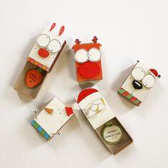 5 DIY Christmas Matchbox-card Set/DIY Christmas Card/DIY Cards/Holiday New Year Card - Polar-Bear - Reindeer - Santa - Snowman - Bunny/CM002