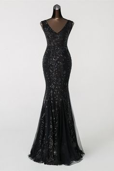 Charming V-Neck Sleeveless Sequins Prom Dress Long Mermaid Evening Party Gowns Black Evening Dresses, Mermaid Evening Dresses, Evening Party Gowns, Affordable Prom Dresses, Prom Dresses Online, Dress Out, Gown Dress, Dress Prom, Sequin Dress