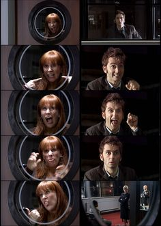 The Doctor and Donna. in my top ten favorite Doctor Who Moments is the Doctor/Donna window scene!LOL!