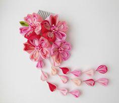 Pink Sakura Bright Days Tsumami Kanzashi Silk by HanamiGallery