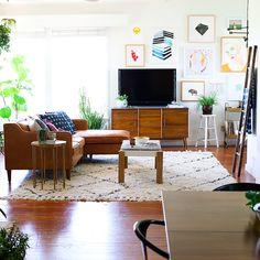 California mid-century modern & bohemian living room