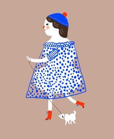 Dog Walking, Blue Dresses, Disney Characters, Fictional Characters, Whimsical, Snow White, Cinderella, Folk, Polka Dots
