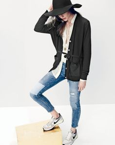 J.Crew women's drapey tuxedo top, toothpick jean in rogers wash, floppy hat, and Nike internationalist sneakers.