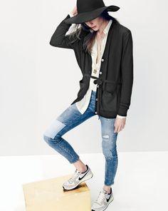 J.Crew women's drapey tuxedo top, toothpick jean in rogers wash, floppy hat, and Nike internationalist sneakers.