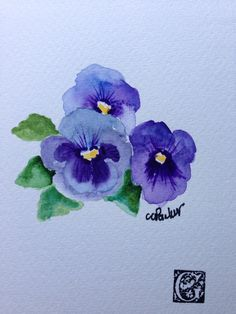 Purple Pansies Watercolor Card by gardenblooms on Etsy, $4.00
