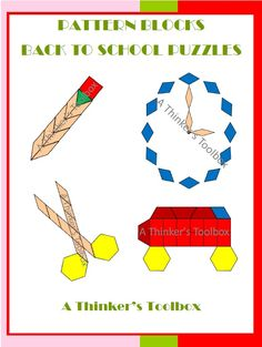Pattern Blocks Back To School Puzzles by A Thinker's Toolbox. Included are 4 Back To School puzzles; a bus, pencil, scissors, and clock. Black line pattern block pieces as well as colored pattern block pieces are provided. Colored answer keys are also included.