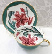 Vtg Susie Cooper English Bone China Tea Cup & Saucer Fancy Pink Tiger Lily Green