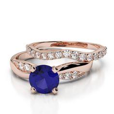 Gold / platinum round cut tanzanite and diamond bridal set ring Ruby Rose, Rose Gold, Bridal Ring Sets, Gold Platinum, Emerald, Sapphire, Wedding Rings, Engagement Rings, Diamond