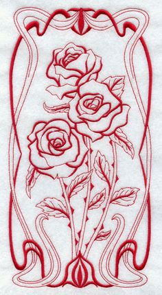 (^_^) Art Nouveau roses -Machine Embroidery Designs at Embroidery Library! - New This Week Rose Embroidery, Silk Ribbon Embroidery, Embroidery Stitches, Embroidery Patterns, Fleurs Art Nouveau, Art Nouveau Flowers, Blackwork, Jugendstil Design, Motif Floral